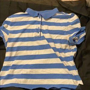 Cropped blue striped shirt